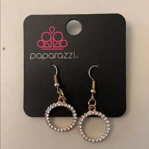 Gold with silver stones circle earrings